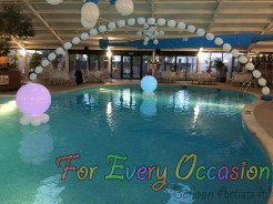 Add Balloons and lights to a swimming pool