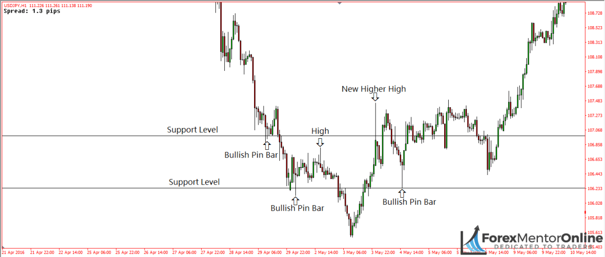 image of bullish pin bars forming at support levels