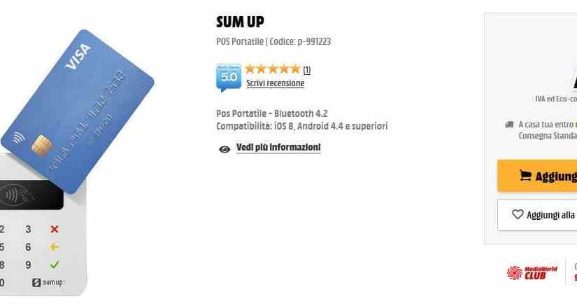 Il Sumup è offerta da MediaWorld a 20 euro
