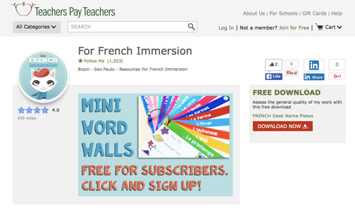 For French Immersion TeachersPayTeachers store
