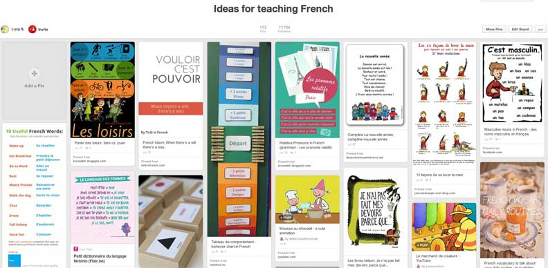 Ideas for teaching French Pinterest board