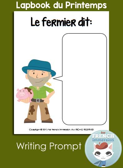 French spring lapbook - writing prompt - what does the farmer say?