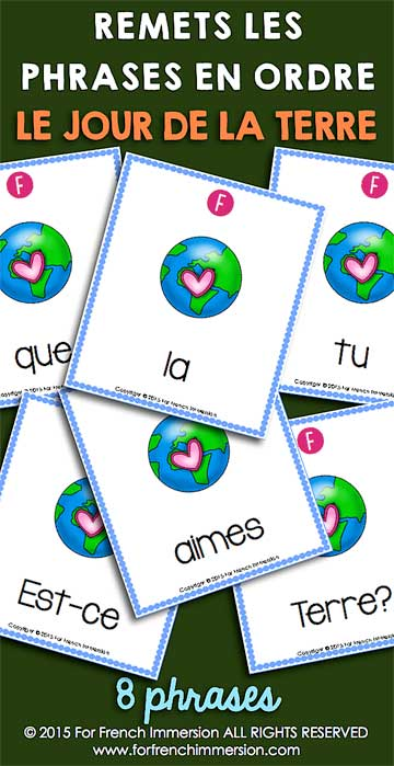 French Earth Day Scrambled Sentences - le jour de la Terre
