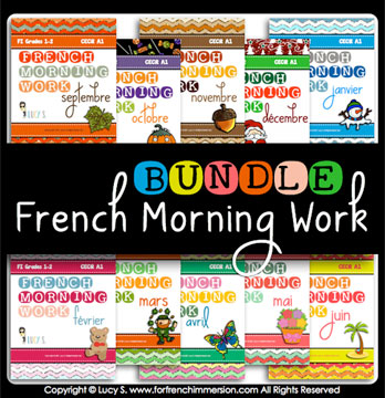 French Morning Work Bundle - 200 no-prep printable worksheets with exercises in French for grades 1-2