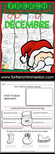 French Language Morning Work - 20 worksheets with exercises in French DECEMBER - en français DÉCEMBRE