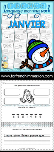 French Language Morning Work - 20 worksheets with exercises in French JANUARY - en français JANVIER