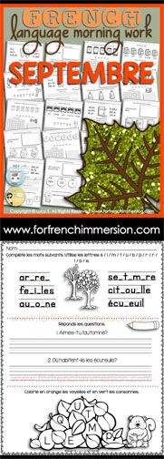 French Language Morning Work - 20 worksheets with exercises in French SEPTEMBER - en français SEPTEMBRE