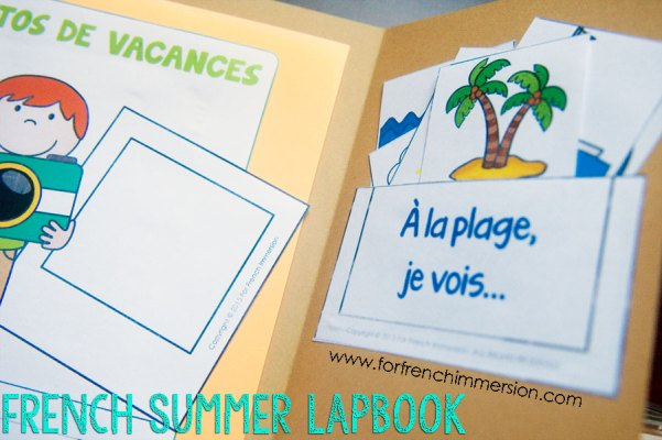 French Summer Lapbook - interactive vocabulary match. First, students match the words to the illustration. Then, they make a pocket to keep the mini-cards they 've created! En français.