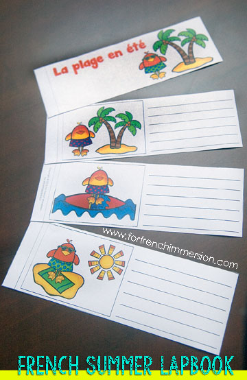 French Summer Lapbook - writing flip book. Fun and effective way to practice sequencing and story-telling! En français.
