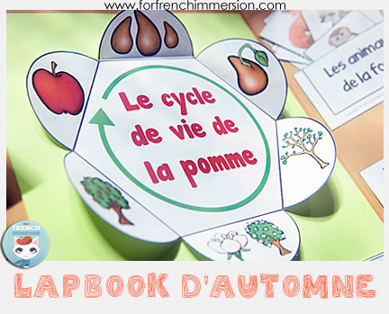 "French Fall Lapbook - interactive activities to celebrate the season and practice French! Includes ""apple life cycle foldable petals"", writing prompts, vocabulary practice, and more!"