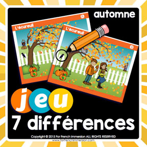 French Fall Game: find the 7 differences in the pictures. Great way to improve visual discrimination and writing/speaking French skills !