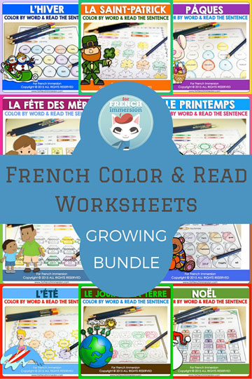 French Color and Read Worksheets Growing Bundle - a great way to improve the recognition of high-frequency words and reading skills.