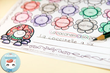 French Color and Read Worksheets: Spring. Le printemps.