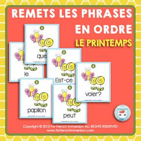 French Spring Scrambled Sentences: des phrases mêlées en français - pour le printemps