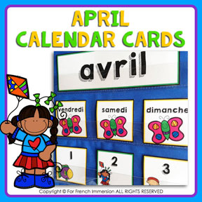 French calendar cards with tasks: APRIL | AVRIL