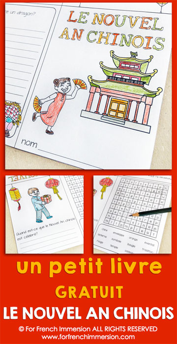 FREE French Chinese New Year Mini-book: writing prompts and word search. Fun activities for your French classroom!