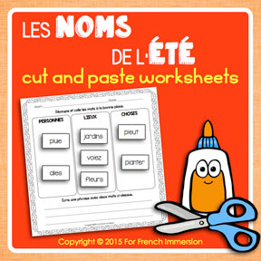 French Summer Nouns: cut and paste activities for students to learn more about nouns in French.