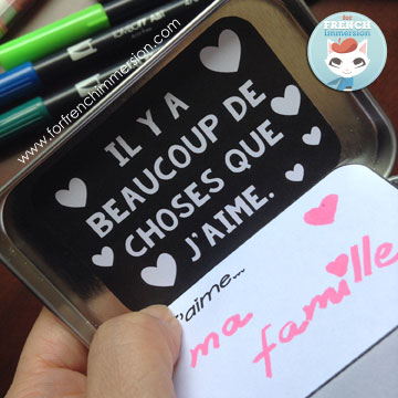"""FREE printable – French Valentine's Day craft: the """"J'aime"""" mint tin. Great for """"la fête des mères"""", too!"""