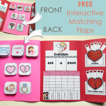 The FREE Interactive Matching Flaps integrate perfectly with the French Valentine's Day Lapbook – pour la Saint-Valentin!