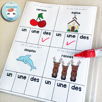 French Parts of Speech Resources: les classes de mots. Clip cards to practice using the right indefinite articles in French. Instead of using them as clip cards, you can insert the whole page into a page protector and have kids use dry-erase markers to circle the correct answers!