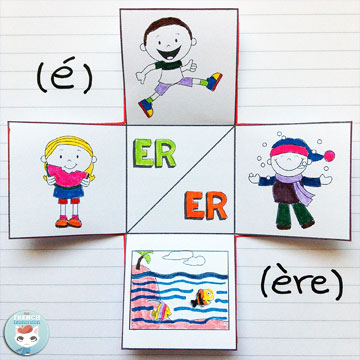 French PHONICS foldable flaps - an interactive way to get kids to learn phonics. Teaching French sounds. Two different ways to pronounce ER: like É as in sauter and manger or as ÈRE as in mer and hiver
