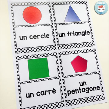 French Classroom Decor Polka Dots: 2D shapes posters in color and B&W. A beautifully-decorated French classroom with little color ink use! The posters are letter-sized, but you can print them 4 per sheet and create mini-posters just like in the picture!