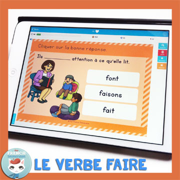 French Verbs Present Tense Practice: le verbe faire au présent de l'indicatif. Self-correcting digital task cards for tablets and computers.