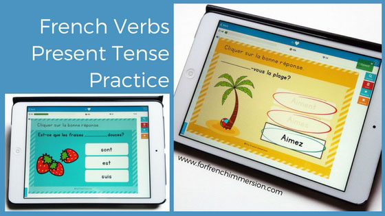French Verbs Present Tense Practice: des verbes au présent de l'indicatif. Digital task cards for tablets and computers. Boom Learning.