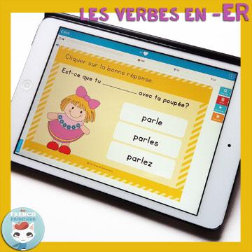 French Verbs Present Tense Practice: les verbes en -ER au présent de l'indicatif. Self-correcting digital task cards for tablets and computers.