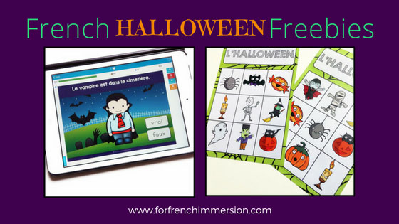 French Halloween Freebies and Videos: links to free printables, a set of digital task cards, and videos.