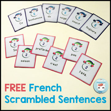 FREE French winter classroom activities: winter scrambled sentences (des phrases mêlées) HIVER.