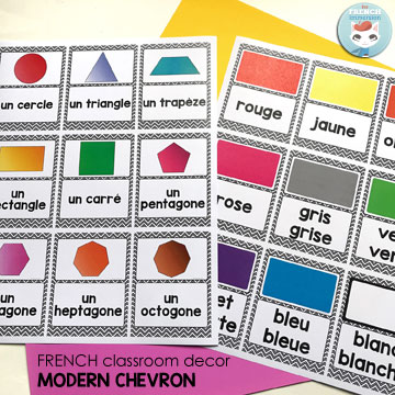 "French Classroom Decor Modern Chevron: 2D shapes and colors. A beautifully-decorated French classroom with little color ink use! Print the color posters in color OR the B&W version in matching colored paper (e.g. ""bleu(e)"" on blue paper, ""rouge"" on red paper, etc) You can reduce the size of the posters by printing multiple pages per sheet (9 pages per sheet in the picture)"