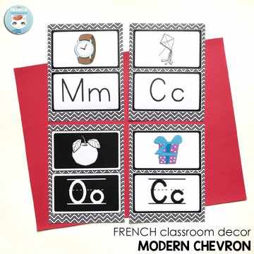 French Classroom Decor Modern Chevron: alphabet posters in four versions. A beautifully-decorated French classroom with little color ink use!