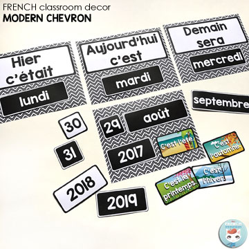 "French Classroom Decor Modern Chevron: calendar set (days of the week, months, days 1-31, years 2017-2022, etc). A beautifully-decorated French classroom with little to no color ink use! Two calendar versions: one for pocket charts (not pictured) and another one to be used with velcro or magnetic strips (pictured). Includes ""les saisons"""
