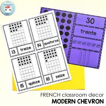 French Classroom Decor Modern Chevron: number posters in two versions. A beautifully-decorated French classroom with little color ink use! Version 1: number, word form, and ten frames. Version 2: number, number word, ten frames, tally marks, and base 10 blocks. Choose the number representation you'd like to display in your French classroom! Print 2 or 4 pages per sheet to have reduced versions of the posters!