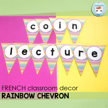 French Classroom Decor Rainbow Chevron: alphabet letters pennants. Create your own message banners!