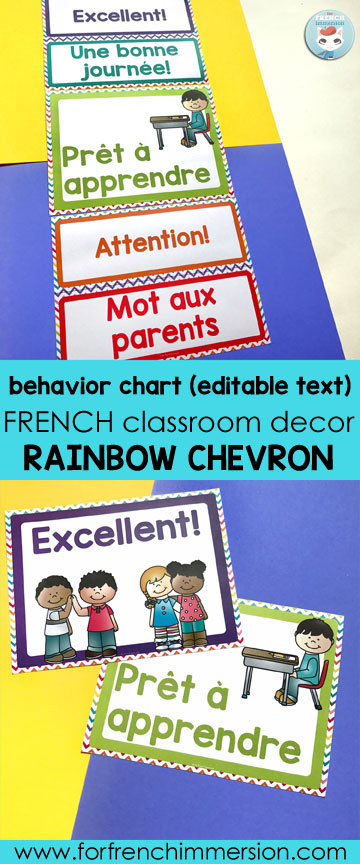 French Classroom Decor Rainbow Chevron For French Immersion