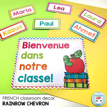 French Classroom Decor Rainbow Chevron: BIENVENUE! poster & editable name tags. Welcome your students with a beautiful bulletin board displaying their names!