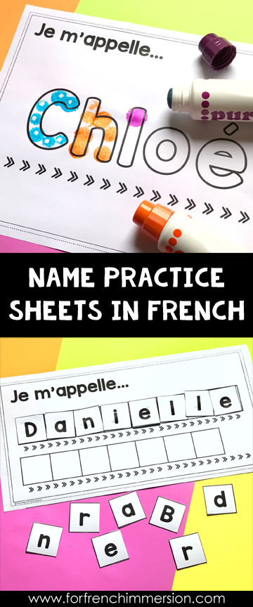 Personalized name practice sheets for your French classroom students! Click to learn more :)