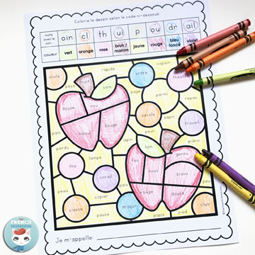 French Fall Color by Sound Worksheets: fun and engaging way to have students work on French phonics and develop critical thinking skills! Pour l'automne | #coloriagemagique #frenchimmersion #frenchphonics