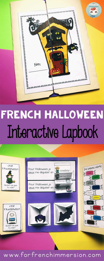 French Halloween Lapbook: interactive printables for your French classroom. Fun and hands-on way to practice French Halloween vocabulary! #forfrenchimmersion #frenchimmersion #teachingfrench #frenchhalloween