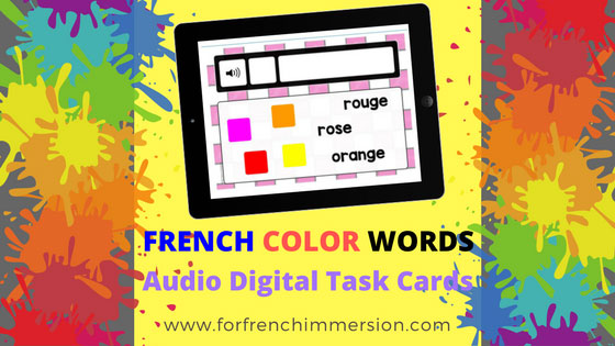 FREE French Colors Audio Digital Task Cards: for tablets, computers, interactive whiteboards, and more! Features the pronunciation of the color words in French #forfrenchimmersion #boomlearning #corefrench #frenchimmersion #lescouleurs #vocabulaire