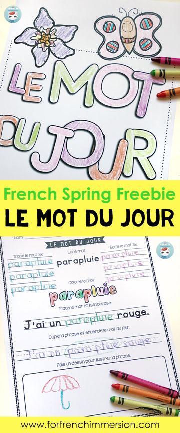 le mot du jour spring freebie for french immersion. Black Bedroom Furniture Sets. Home Design Ideas