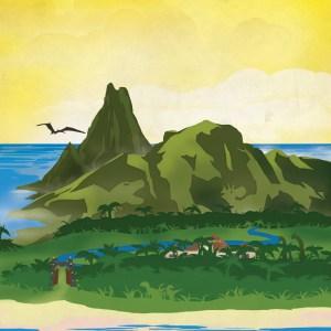 Jurassic Park Isla Nublar Retro Travel Poster