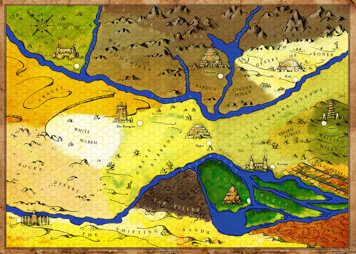 hand drawn game map of ancient mesopotamia  forge design - ancient mesopotamia map rough v final color
