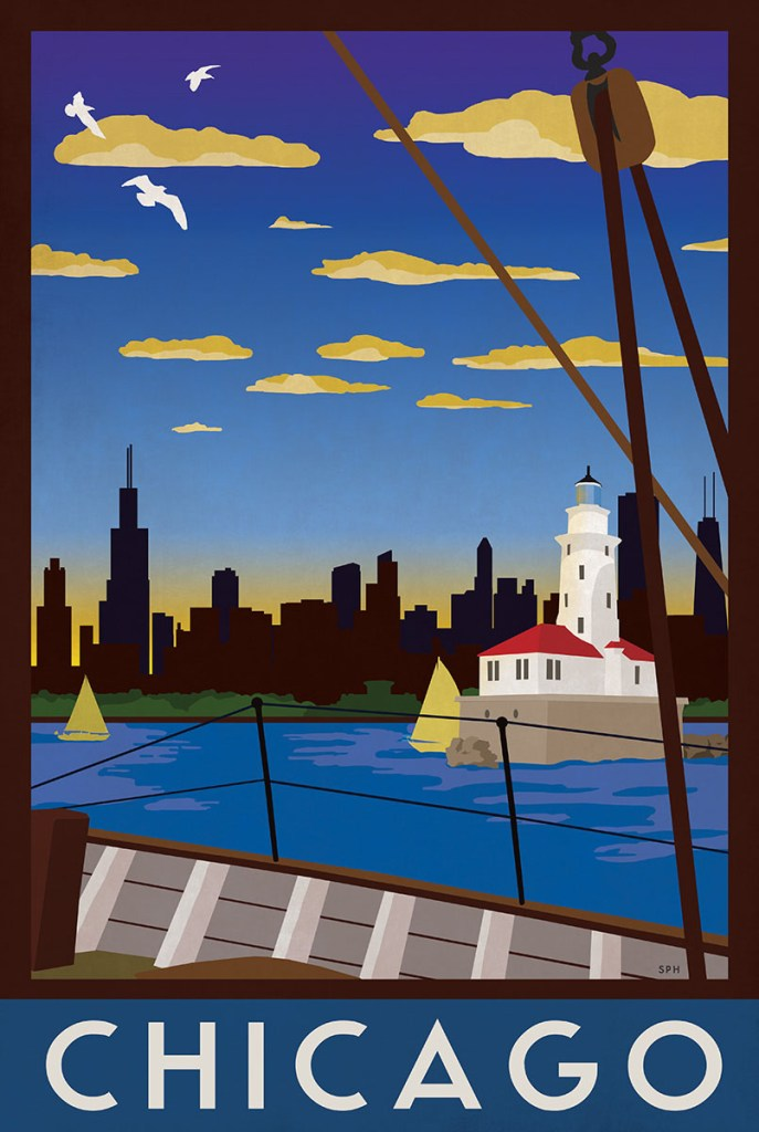Chicago Retro Travel Poster