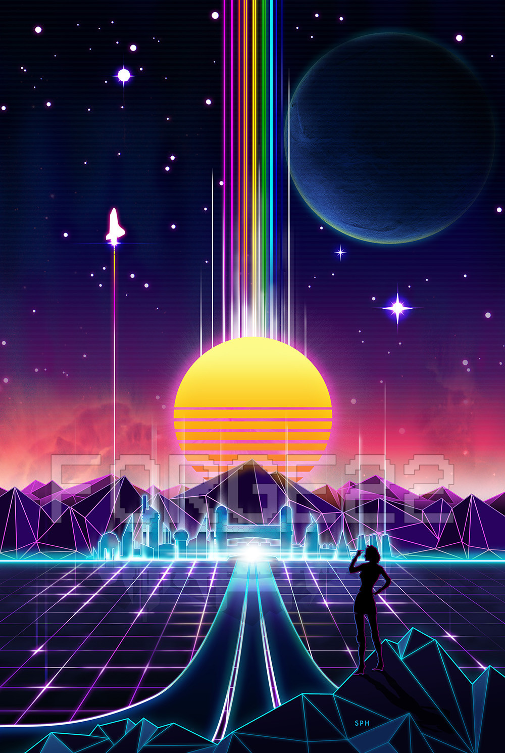 Synthwave Outrun Visual Art Design - Neon 80's grid future Vaporwave