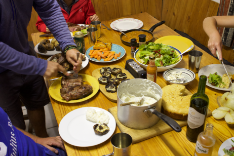 Part of our dinner feast at the backpacker's hostel