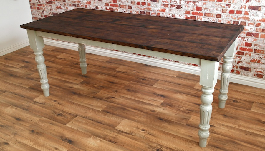 Rustic Farmhouse French Dining Table With Fluted Legs