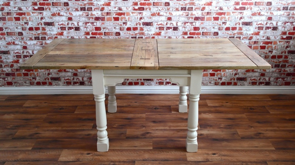 Extending Rustic Folding Dining Table Drop Leaf Space